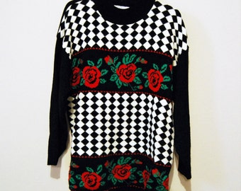 Vintage Sweater Hipster Red Roses with Black