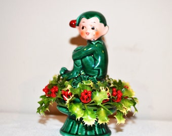 Vintage Pixie Elf on Holly 1950's