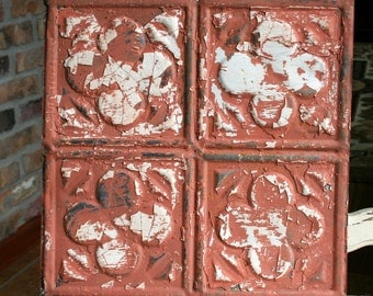 "Genuine Antique Ceiling Tile -- 12"" x 12"" -- Distressed Orange Paint -- Abstract Clover Design"
