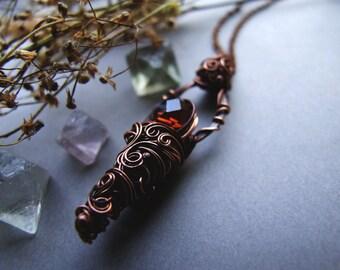 Honey Necklace, Copper Cognac Glass Pendant, Rustic, Boho, Woodland Honey Necklace