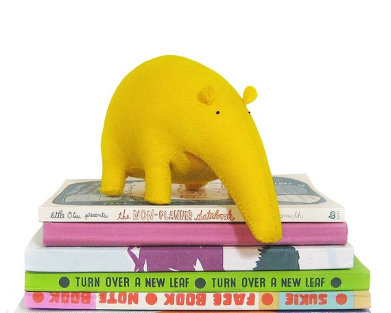 Stuffed Animal Tapir made with hight quality yellow felt · Handmade Soft Toy · Plush toy · Home decor