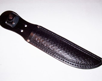 "Large Black-7-1/2"" Blade-Basket Weave Leather Hand Tooled Knife Sheath-item LBBW-02"