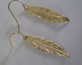 Pair of Gold Feather Dangles