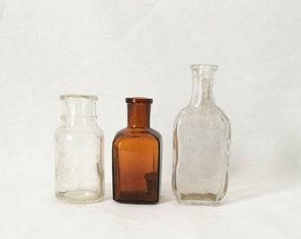 Dark amber bottle- Clear glass bottles- set of old bottles- antique mini bottles- cork top bottles- cottage home decor