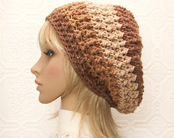 Crochet slouch hat - brown, tan color hat - women's winter accessories, winter fashion, gift for her - Sandy Coastal Designs - ready to ship