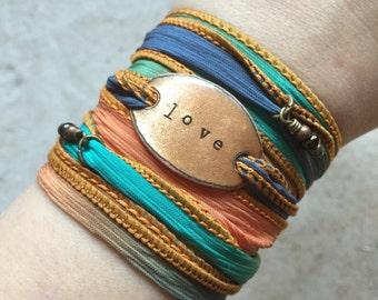 Silk Wrap Bracelet- LOVE bracelet- Sailor Studio- boho wrap bracelet-  yoga bracelet- wrap bracelet- boho jewelry