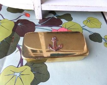 French Vintage Sewing Box/Trinket Box/ Anchor marine decor, Chic Souvenir, Cottage chic,Jewelry box
