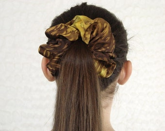 Hand Dyed Brown and Gold Silk Scrunchie