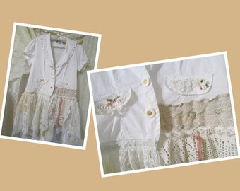 Romantic White Jacket, shabby chic flowing lace embellished, white cotton shirt blouse, refashioned altered clothing, asymmetric  XL