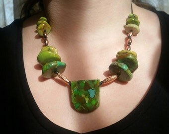 NEWEST JEWELRY - Rare Lime Green Turquoise Nugget Necklace