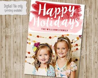 Christmas Card, Photo Christmas Cards, Photo Holiday Cards, Holiday Cards, Watercolor, Watercolor Christmas, Paintbrush, Holiday Card
