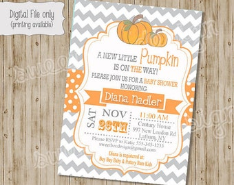 pumpkin baby shower invitations, baby shower invitation with pumpkins, fall baby shower, invite, Digital, Printable file