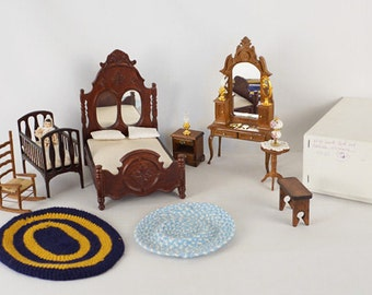 Vintage Dollhouse Furniture Master Bedroom Set