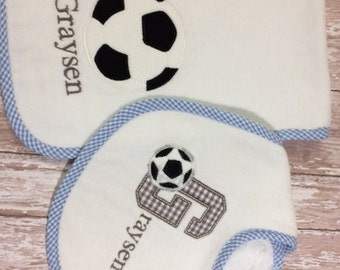 Personalized Soccer Bib & Burp Cloth Set in Pink, Blue or White Gingham Trim for Boy or Girl