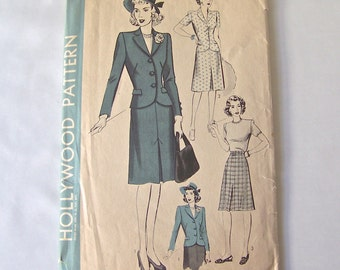 Vintage Ladies Two Piece Suit Pattern 1930s Hollywood Pattern Sewing Pattern Vintage Sewing Room