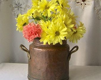 Antique Copper Decorative Pot Primitive Copper Vessel Kitchen Copper Home Decor Rustic Kitchen Brass Handles circa 1800s