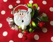 SANTA  - 2 OVERSIZED Machine Embroidered Embellishments / Appliqués - Ready To Ship