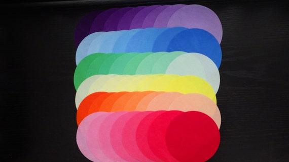 5 Inch Precut Quilt Circles, RAINBOW, 48 Hand Dyed Circles, 100% Cotton, Pre-Shrunk, Colorfast