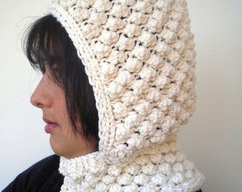 PopCorn Cream Color  Little  Hoodie Merino Wool Yarn Hood Woman Hooded Cowl NEW
