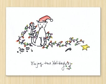 Cat Holiday card, Christmas Card, Enjoy The Holidays, Cat holiday card