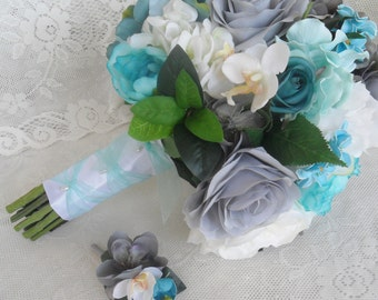 Wedding Bouquet, Turquoise Bridal Bouquet, Turquoise/Teal Wedding Flowers, Silk Wedding Flowers, Gray/Silver Wedding Flowers, Beach Wedding