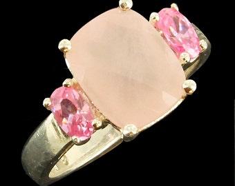 Vintage Sterling Basket Weave 2.26CT Pink Amethyst Pink Quartz Ring Size 6.5
