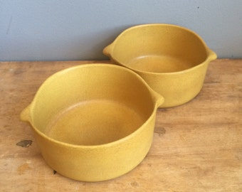 Vintage Bennington Potters Lugged Soup Bowl Designed by David Gil and Yusuke Aida Tawny Mustard early 1960's #1641