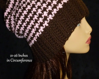 Slouchy Beanie, Slouch Hat, Houndstooth Slouch Hat, Slouch Hat with Pom Pom- Hand Crocheted - Pink and Brown