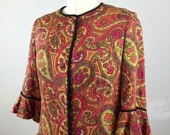 60's Paisley Print Cotton Housedress, Crimson Vintage Maxi dress, 1960's Shirtwaist Dress, Size medium
