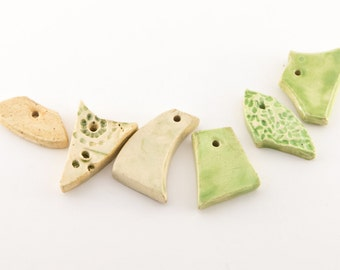 Evening Breeze  -- a set of 6 textured ceramic beads/pendants