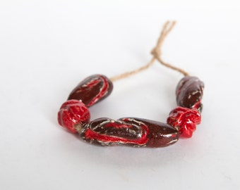 Truthed into peace -- 5 bright red ceramic beads