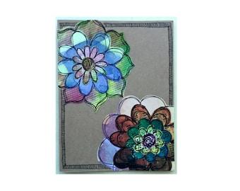 Paper Flower Garden series 1 - 4.25x5.5 card (PSGS-0038) - Handmade Blank Card