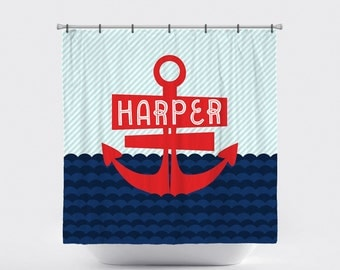 Shower Curtain Personalized Nautical Anchor Waves Red