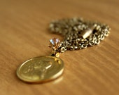 Saint Joan of Arc Charm Necklace With A Teeny Tiny Antique Saphiret - Vintage Joan of Arc Medal