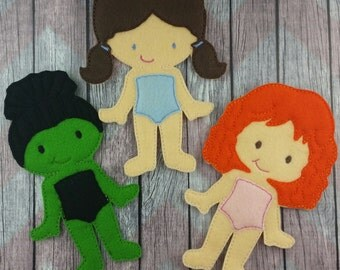 Dorothy and the witches Felt Doll set, Non Paper Doll, flat felt doll, Oz inspired, Good witch, bad witch