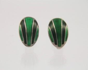 Vintage D-A David Anderson Norway 2 Tone Green Enamel Sterling MET Earrings~ Art Modern