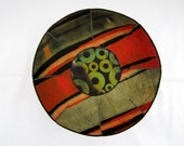 RESERVED FOR CHELLY African Clay fabric bowl batik black stripes burnt orange khaki green