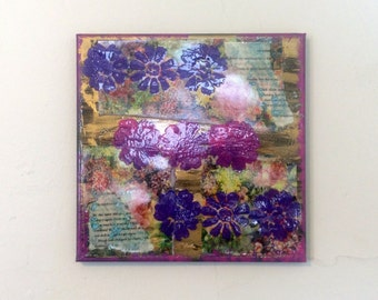 Purple Ombre Mixed Media Painting With Flowers, Floral Artwork, 10 x 10 Original Painting, Book Pages Collage Artwork, Flower Painting