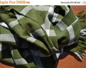 ON SALE Very Long Forest Green and Grey Naturally Dyed Handwoven Angora Merino Wool Scarf 368