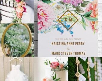 Spring Wedding Invitations Garden Wedding Invitations Floral Wedding Invitations