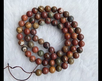 Multi-Color Picasso Jasper Loose Bead,1Strand,40cm In the Lenght,6mm,20.68g