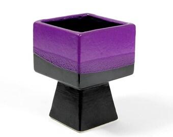 Fat Lava Purple Vase Vest Design Gouda Pottery Dutch Modernist 60s