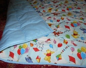 Handmade Pooh Baby Quilt-Disney Pooh Balloon Friends- Toddler Bed or Crib Size Quilt Comforter Blanket