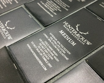 100 black satin labels, satin printed labels, satin labels