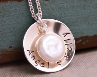 Personalized Jewelry / Sterling Silver Necklace / Hand Stamped Jewelry / Limited Edition Cup with Freshwater Pearl (two names)