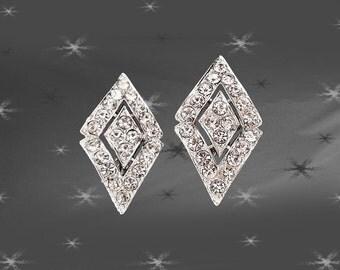 Vintage Rhinestone Clip On Earrings - 60s Sarah Coventry Clip ons with Rhinestones - Parisienne Nights
