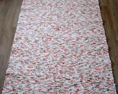 Long Handwoven , unused Cotton Fabric ribbons rag rug -2.98' x 7.13' white, orange, red , green, ready for sale