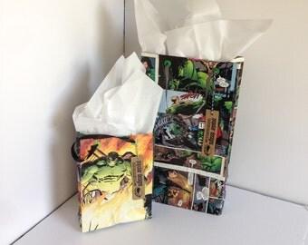 2 Hulk Comic gift bags / Recycled comic book/ handmade superhero gift bag