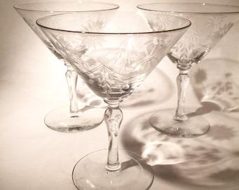 Vintage Martini Glasses - Etched Glass - Set of 3