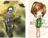 INSTANT DOWNLOAD Creepy Cute Dancing Skeleton Bats & Girl Stamp w/ Monster Mash Sentiment - Dancing In The Dark  Image No.331 by Lizzy Love